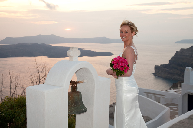 sunset wedding santorini